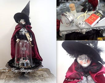 The Sorceress Two Feet Tall Lighted Art Doll Cloche Dome Assemblage Witch Art Doll Decoration One-of-a-Kind Lorelie Kay Original