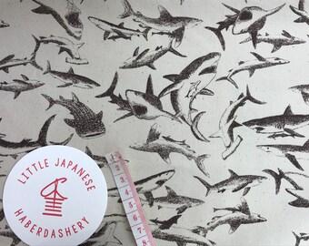Japanese Kokka Oxford fabric, Novelty Fabric, Fish Fabric, Fabric For Boys, Sewing Fabric, Shark Fabric, Fishing Fabric