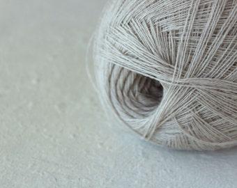 Cobweb light beige color wool yarn - haapsalu shawl yarn