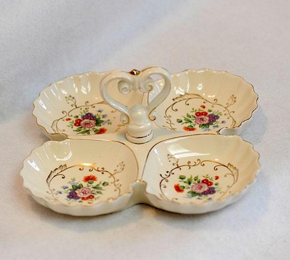 Vintage Cottage Style 4 Section Handled Floral Tidbit Server Tray Dish