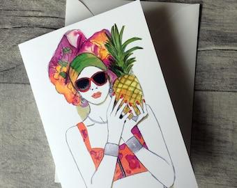 Fresh Fruit- Illustrated Birthday Friendship blank Card