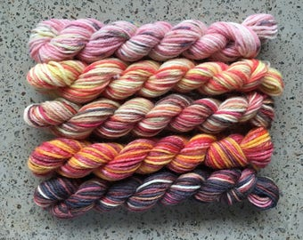 Set of 5 Harry Potter Miniskeins for your knitting project bag - Dr Filibuster's Wet Start, No Heat Fireworks