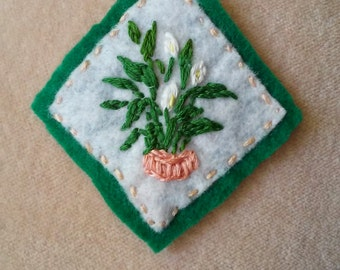 Houseplant Patch - Peace Lily in Peach Planter (Patch, Pin, Brooch, or Magnet)