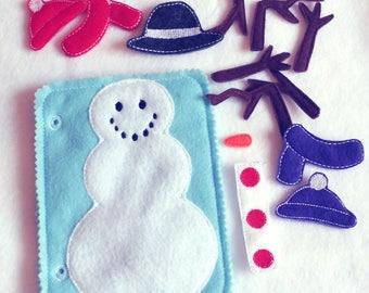 Felt quiet book - Build a snowman - Toddler quiet book - Quiet book page - Toddler busy book - Busy book page - Felt church quiet book