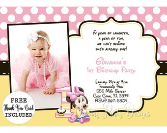 Baby Minnie Invitation, Baby Minnie Mouse Invitations, Birthday, Party, 1st Birthday, Minnie Invitations, Minnie Invites