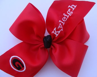 Georgia Bulldogs, Hair Bow, Monogrammed, Girls Sports, Football Fan, Large, Personalized Gift, Monogram Bows