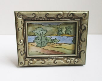 Framed ACEO Landscape Painting Original Miniature Watercolor Pen Ink Artist Trading Card  Kathleen Daughan Western Ave Artist Massachusetts
