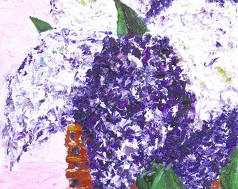Lilacs Original Oil Painting Purple White-Oil 6x6-Canvas-Home Decor-Gift-Wedding Gift-Impasto-Spring-Cottage-Impasto-Basket-Floral-Lilac