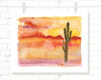 Desert - Sunset - Cactus - Joshua Tree - Cacti - Watercolor - Art Print - Wall Art