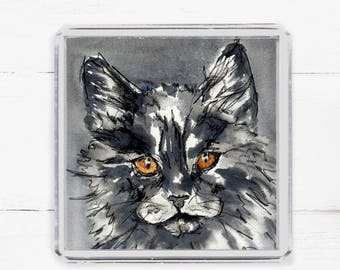 Cat Fridge Magnet, Cat Lover Gift, Gift Under 10, Fridge Magnet, Kitchen Decor, Black Fluffy Cat, Black Cat