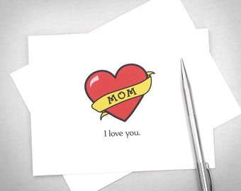 Printable Mothers Day Card. Funny Printable Card. Mom Tattoo. Mother's Day Card. Mom Birthday Card. From Son, Daughter. Instant Download.