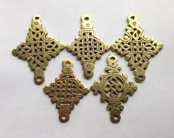SALE - 5 Brass/gold color Ethiopian Coptic Cross, cross pendant, Ethiopian jewelry, African pendant