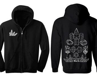 CRYSTAL MATH Hoodie Men's and Women's Geometric Crystal Black Hooded Sweatshirt Quartz