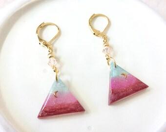 Triangle earrings, crescent resin earrings