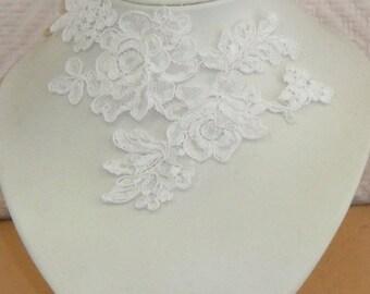 White lace bridal wedding necklace
