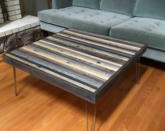 Beautiful Modern Rustic Mid Century Coffee Table in Greys and Blacks with Hairpin Legs - Urban Industrial