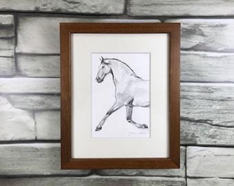 "Horse art original - ""Float"" - framed graphite drawing"