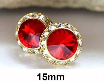 Red & Gold Halo Studs, 15mm Earrings, Swarovski, Rhinestone Studs, Stud Earrings, Light Siam Surrounds, Crystal Studs, Large Studs