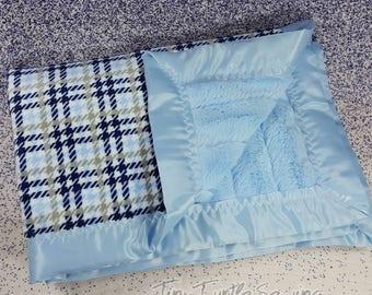 Soft Minky Blanket with Satin edges Baby Blue Plaid