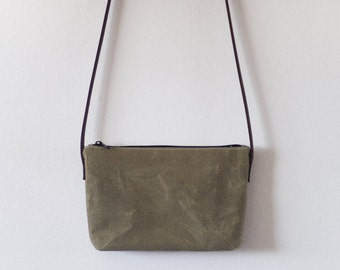 Small waxed canvas crossbody bag with leather straps
