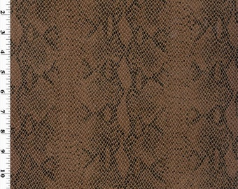 Snake Faux Leather Espresso Brown, Fabric By The Yard