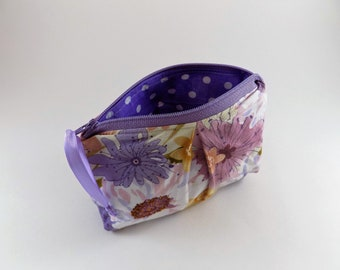 Purple Floral Print Zip Bag Cosmetic Bag Travel Bag Zippered Makeup Bag Floral Bag Snack Bag