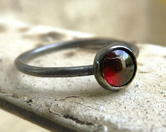 oxidized garnet ring, sterling silver oxidized stacking ring, red gemstone ring,