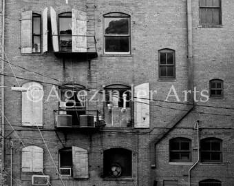 OLD BRICK BUILDING - Bisbee, Arizona - Black and white image Instant digital download original art photography