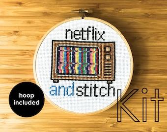 Cross stitch kit, modern cross stitch, netflix and stitch