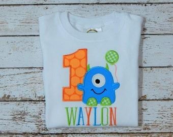 Boy Monster Birthday; 1st Birthday, Monster Birthday, First birthday, Birthday shirt; Boy First Birthday; SHIPS 3-5 days
