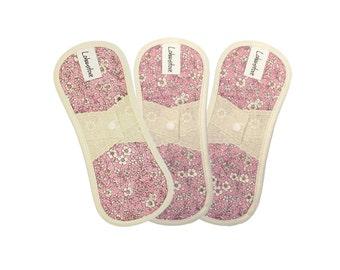 "7.5"" Extra small pads /  Reusable Cotton Cloth mama pads / Sanitary Napkins / Cotton Petites - 3 Pantieliner (Antique pink)"