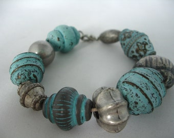 Clay Bead Bracelet- Vintage Look - Teal - Light Blue - Antique Silver - Shappy Chic - Acrylic Beads - Gift Idea  - Summer Bracelet