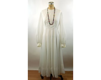 1960s maxi dress long dress white modest sheer sleeves Mike Benet gown Size L