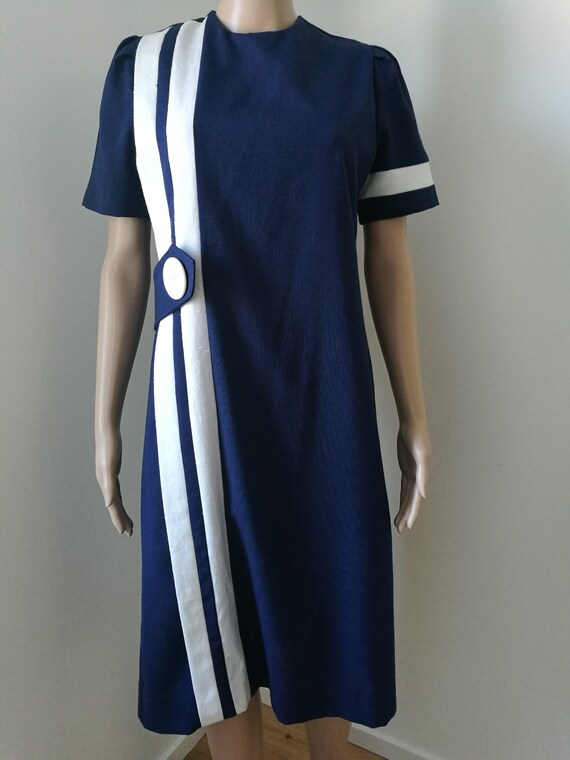 Vintage mod 1980's 60's Kevin Stuart Petites blue white wiggle dress racing stripe dress size M