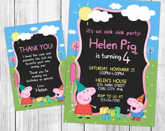 Peppa pig invitation etsy peppa pig invitation peppa pig birthday invitation peppa pig birthday party peppa pig filmwisefo Images