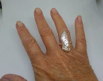 Stick pearl sterling silver ring