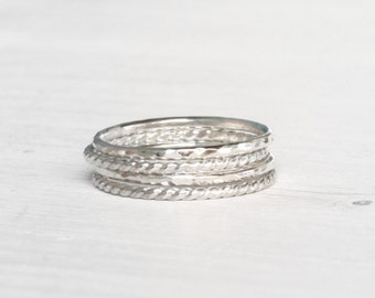 GET 1 FREE WITH Four Stacking silver rings / hammered and twisted wire stacking rings in shiny silver / skinny stacking rings Handmade
