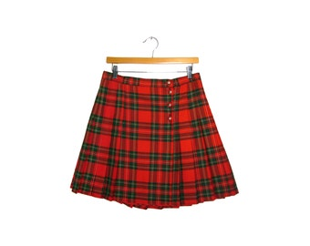 90s Red Plaid School Girl Skirt (Size 12)