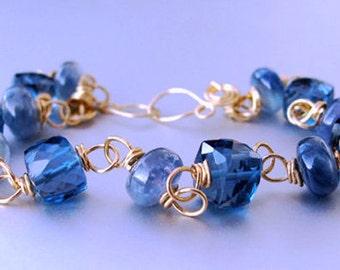14k Solid Gold Sapphire Bracelet, READY TO SHIP, 14k Gold Blue Sapphire Bracelet, 14k London Blue Topaz Bracelet