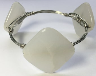 White bead wire wrapped bracelet
