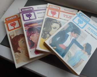 4 x Mills & Boon romance novel novels 80's way of a man passage to paxos web of silk the guarded heart paperbacks yvone whittal