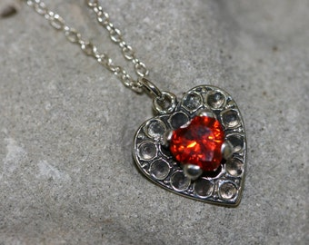 Orange Heart Stone, Heart Necklace, Silver  Nacklace ,925 Sterling Heart Pendant, Silver Jewelry, Handmade Heart  Pendant, Romantic Jewelry,