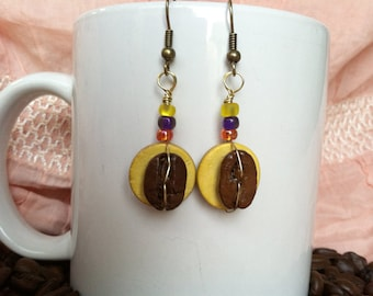 Coffee Beans - Sunny Side of the Street - Authentic Fair Trade Coffee Bean Earrings...FREE U.S. SHIPPING