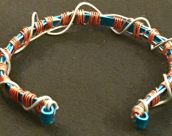 Copper blue Code wire up bracelet
