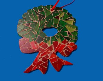 Mosaic Christmas Wreath Ornaments