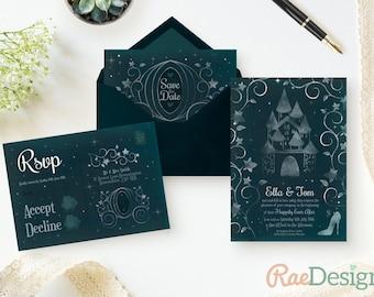 Printable Cinderella Sparkle Wedding Invitation - Cinderella Wedding, Fairy Tale Invite, Disney Wedding, Sparkly Wedding Stationery