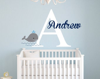 Whale Wall Decal - Name Wall Decal - Nautical Wall Decal - Name Decal - Nursery Wall Decal - Baby Whale Decal - Vinyl Wall Decal
