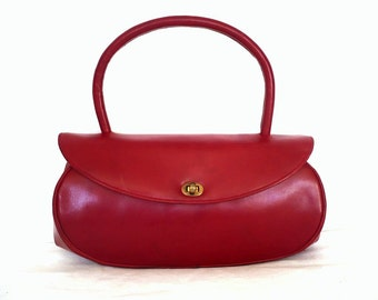 CLAUDIE French Vintage 50s Red Leather Handbag