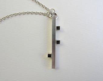 Long Bar Necklace silver tube asymmetric cubes modern geometric handfabricated