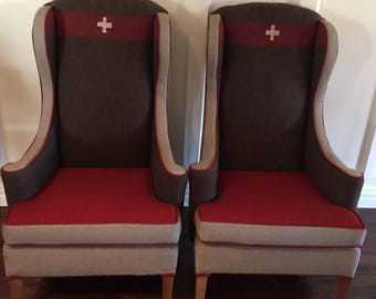 Pair of Swiss Army Blanket Wingback Chairs
